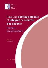 Pour une politique globale et intégrée de sécurité des patients