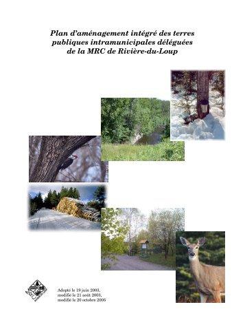 Plan d'aménagement intégré - MRC de Rivière-du-Loup