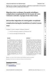 Migration intra-cardiaque d'un guide métallique : complication ...