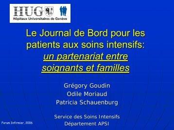Le Journal de Bord pour les patients aux soins intensifs - HUG