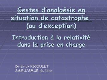Sédation et Analgésie en situation de catastrophe ou d'exception