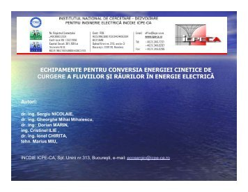 ECHIPAMENTE PENTRU CONVERSIA ENERGIEI CINETICE DE ...