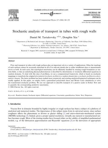 Stochastic analysis of transport in tubes with ... - Purdue University