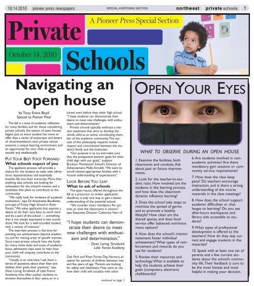 Navigating an open house - Pioneer Press Communities Online
