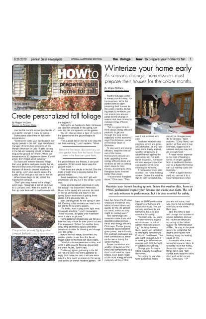9/16/10 How to... prepare your home for fall - Pioneer Press ...