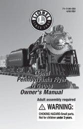 Lionel Pennsylvania Flyer G Gauge Owner's Manual Lionel ...