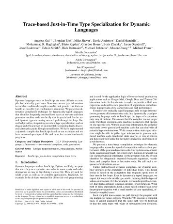 Trace-based Just-in-Time Type Specialization for Dynamic Languages