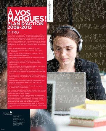 À vos marques! Plan d'action 2009-2012 - Bibliothèques - Université ...