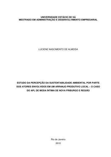 Indicadores de Sustentabilidade Ambiental - Universidade Estácio ...