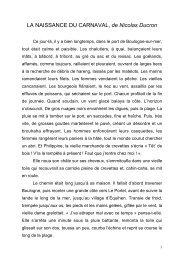 LA NAISSANCE DU CARNAVAL, de Nicolas Ducron