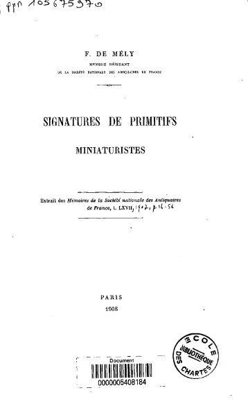 Signatures de primitifs - Bibliothèque numérique de l'école nationale ...