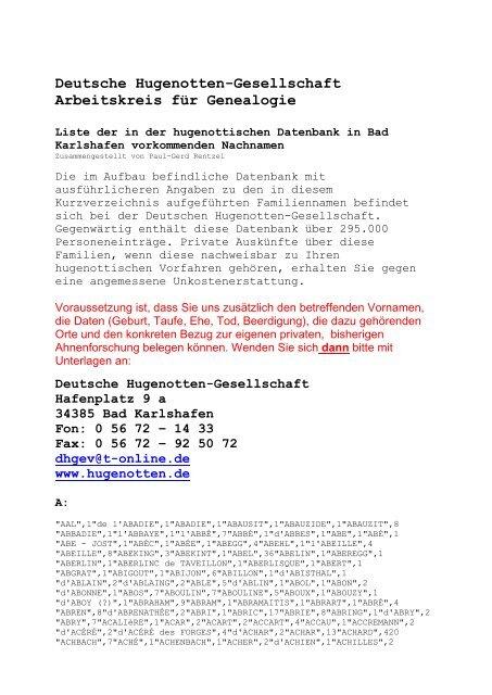 Nachnamenliste Im Pdf Format Deutsche Hugenotten