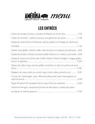 Les Entrées - Restaurant Amerika Mont Tremblant Qc Canada