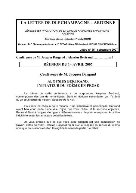 la lettre de dlf champagne – ardenne - Défense de la langue ...