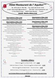 Nouvelle Carte du Restaurant à Compter du 04 ... - Hôtel Aquilon