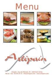 Notre menu au format PDF - Artipain