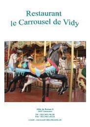 Carte des mets - Le Carrousel de Vidy - Restaurant à Lausanne