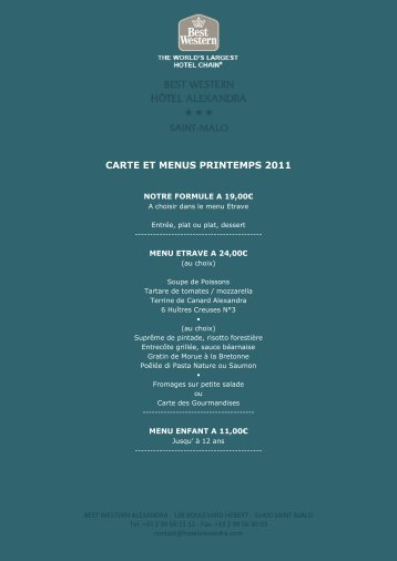 CARTE ET MENUS PRINTEMPS 2011 - hotel alexandra saint malo