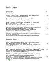 Gazette - menu du diner - Westin Montreal