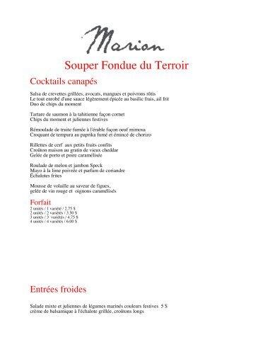 Souper fondue aux saveur du Terroir - traiteur Marion