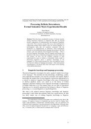 Processing Definite Determiners. Formal ... - Cognitive Science