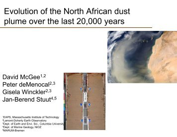Evolution of the North African dust plume over the last ... - CoHemis