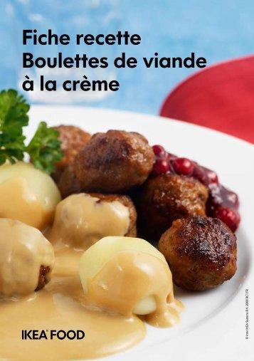 Fiche recette Boulettes de viande à la crème - Ikea