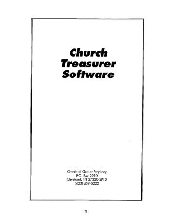 Treasurer's Software - Church of God of Prophecy