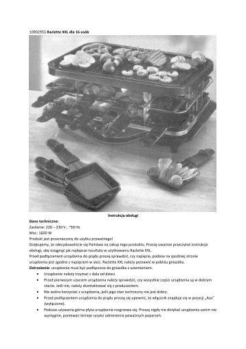 10902955 Raclette XXL dla 16 osób Instrukcja obsługi ... - Weltbild.pl