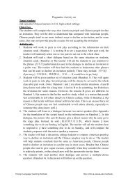Pragmatics Activity set Target student 2nd semester Chinese ...