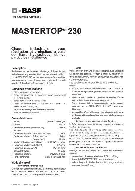 MASTERTOP® 230 - La gamme Performance Flooring - Basf
