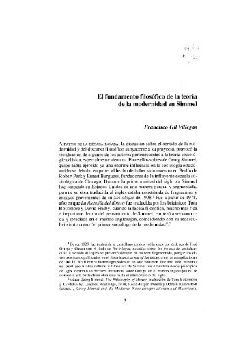 El fundamento filosófico de la teoría de la modernidad en Simmel