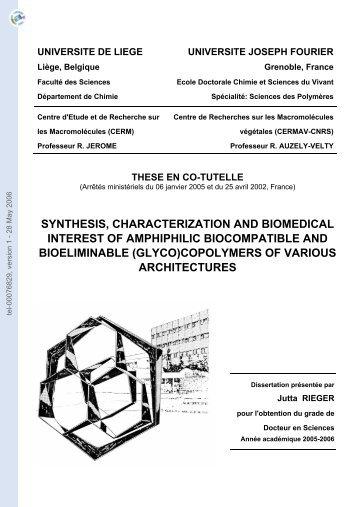 Synthèse, caractérisation et intérêt biomédical de (glyco ...