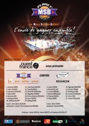 Programme de match MSB - Besançon