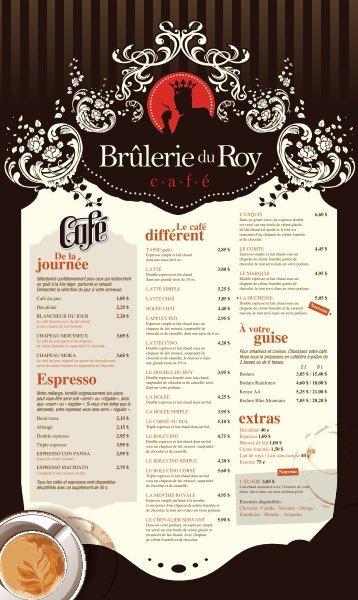Voir la carte des cafés et thés - Brûlerie du Roy