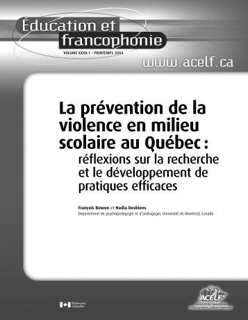 La prévention de la violence en milieu scolaire au Québec : - acelf