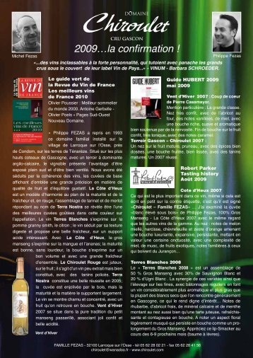 2009…la confirmation ! - Chez Paul Vins
