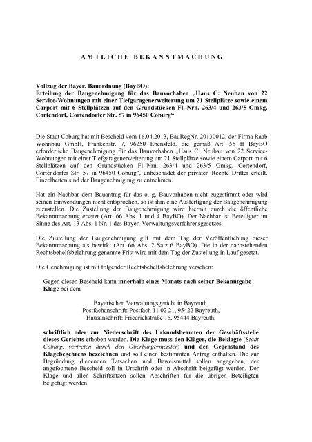 Erteilung der Baugenehmigung für das Bauvo - Stadt Coburg
