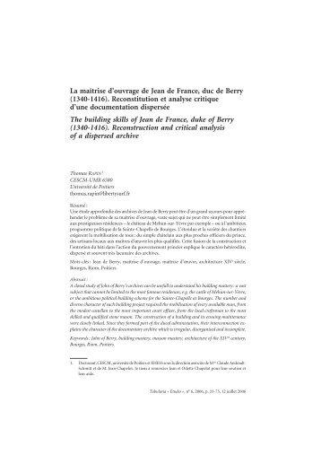 La maîtrise d'ouvrage de Jean de France, duc de Berry (1340-1416 ...