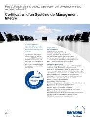 Certification d'un Système de Management Intégré - TÜV NORD ...