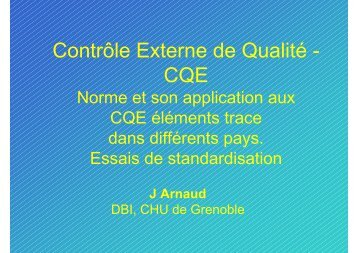 Contrôle Externe de Qualité - CQE - Eurofins