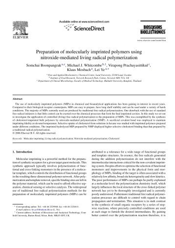 thesis on molecularly imprinted polymers