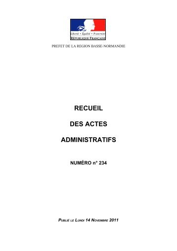 RAA n°234 du 14 novembre 2011 - Préfecture du Calvados