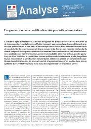L'organisation de la certification des produits alimentaires - Agreste