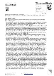 An die Eltern der Schülerinnen und Schüler der Anne-Frank ...