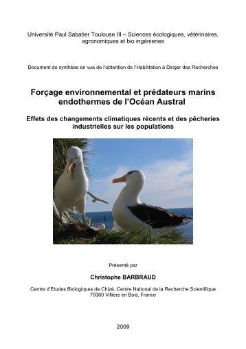 Forçage environnemental et prédateurs marins ... - Cebc - CNRS