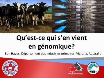 Qu'est-ce qui s'en vient en génomique? - Holstein Canada Events
