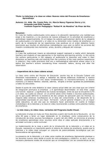 """Título: La teleclase y la clase en video: Nuevos ... - Revista """"Mendive"""""""