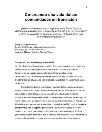 Co-creando una vida dulce: comunidades en transición - Diplomado ...
