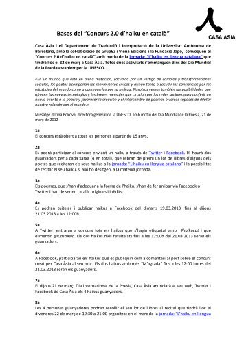 "Bases del ""Concurs 2.0 d'haiku en català"" - Casa Asia"